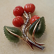 Delicious 14K Gold Coral Jade Cherries Leaves & Diamonds Brooch
