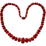 Grand 18K Oxblood Red Coral Bead Necklace 7-20.5mm - 100.1 grams