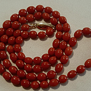 "27"" Mediterranean Beauty 14K Natural Red Coral Bead Necklace - 42.1 grams"