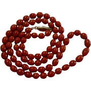 """27"""" Mediterranean Beauty 14K Natural Red Coral Bead Necklace - 42.1 grams"""