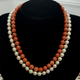 Double Delight 14K Momo Coral Bead & Akoya Cultured Pearl 7.5-7.7mm Necklace - 71.7 grams