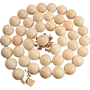 Mid Century 14K Angel Skin Coral Bead Necklace Cabochon Ruby Clasp