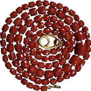 Italian Perfection 18K Faceted Sardinian Red Coral Bead Necklace - 42.1 grams