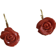 Glorious 18K Red Coral Roses Earrings Pierced Wires