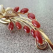 Vintage Splendor Natural Red Coral & Angel Skin Coral Brooch