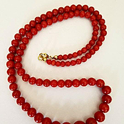 Splendid 14K Oxblood Red Coral 4.3-10.5mm Bead Necklace - 24 grams