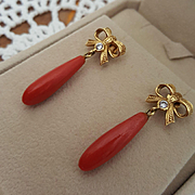 Sassy 18K Gold Ribbon & Red Coral Drop Earrings