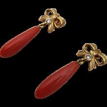 Elegant 18K Gold Red Coral Drop & Diamond Bow Earrings