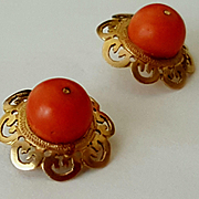 Antique 14K Gold Filigree & Coral Bead Post Earrings with Original Box