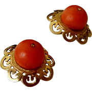 Antique 14K Gold Filigree & Coral Bead Post Earrings Original Box