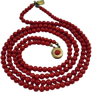 Mid Century 14K Double Strand Blood Red Coral Bead Necklace - 46.6 grams