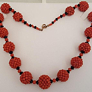 Dazzling Woven Red Coral Bead & Black Jet Bead Necklace