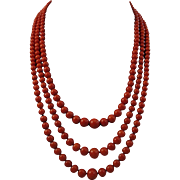 Grand Victorian Period Triple Strand Red Coral Bead Necklace 800 Silver Vermeil Clasp