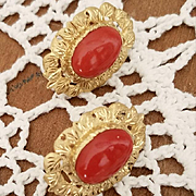 Spectacular 18K Dark Sardinian Red Coral Cabochon Earrings Pierced Omega Clips - 13.3 grams
