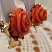Glamorous 1950's Carved Coral Rose Earrings Non-pierced Clips 10.6 grams