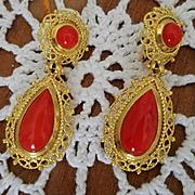 Divine 18K Blood Red Coral Teardrop Earrings Pierced Omega Clips