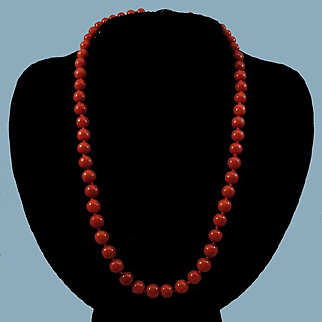14K Sardinian Red Coral 7-7.9mm  Bead Necklace - 36.5 grams