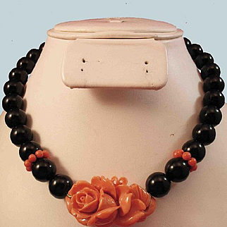 Bewitching 14K Black Onyx 12mm Bead & 42mm  Carved Coral Rose Necklace 91.9 grams