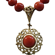 Ever So Lovely 18K Gold Red Coral Cabochon Pendant & Red Coral Bead Necklace