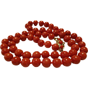 Gorgeous 14K Sardinian Red Coral Bead Necklace - 36.5 grams