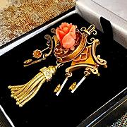 """Edwardian Splendor 14K Gold Carved Coral Rose Tassel Brooch - 1-3/4"""""""