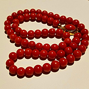 1970's 18K Gold Mediterranean Red Coral Bead Necklace Cabochon Clasp - 34.6 grams