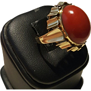 Bold Art Deco 14K Mediterranean Blood Red Coral Cabochon Ring