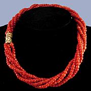 14K Mediterranean Sardinian Red Coral 5 Strand Torsade Necklace - 75.8 grams