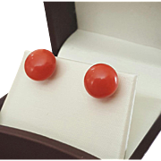 Italian Classic 14K Red Coral 12mm Button Earrings Pierced Posts