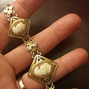 Etruscan Revival Italian Shell Cameo Bracelet Gold Vermeil 800 Silver