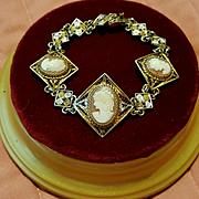 1930's Art Deco Italian Shell Cameo Bracelet Gold Vermeil 800 Silver