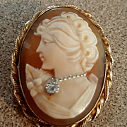 Vintage Beauty 12K GF Shell Cameo Diamond Habille Brooch Pendant