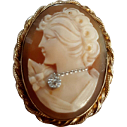 Vintage Beauty 12K GF Shell Cameo Diamond Habille Brooch Pendant