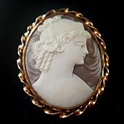 Sardonyx Shell Cameo of Goddess Hera Juno Brooch Pendant