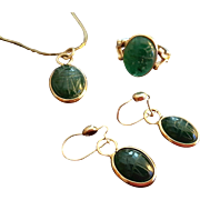 1960's Egyptian Revival 12K GF Malachite Scarab Pendant Necklace, Earrings & Ring Set