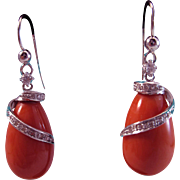 Iced Spring Melons 18K White Gold Coral Diamond .86ct Drop Earrings 12.4 grams