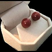 Divine 18K Oxblood Red Coral 11.3mm Bead Pierced Post Earrings 5.9 grams