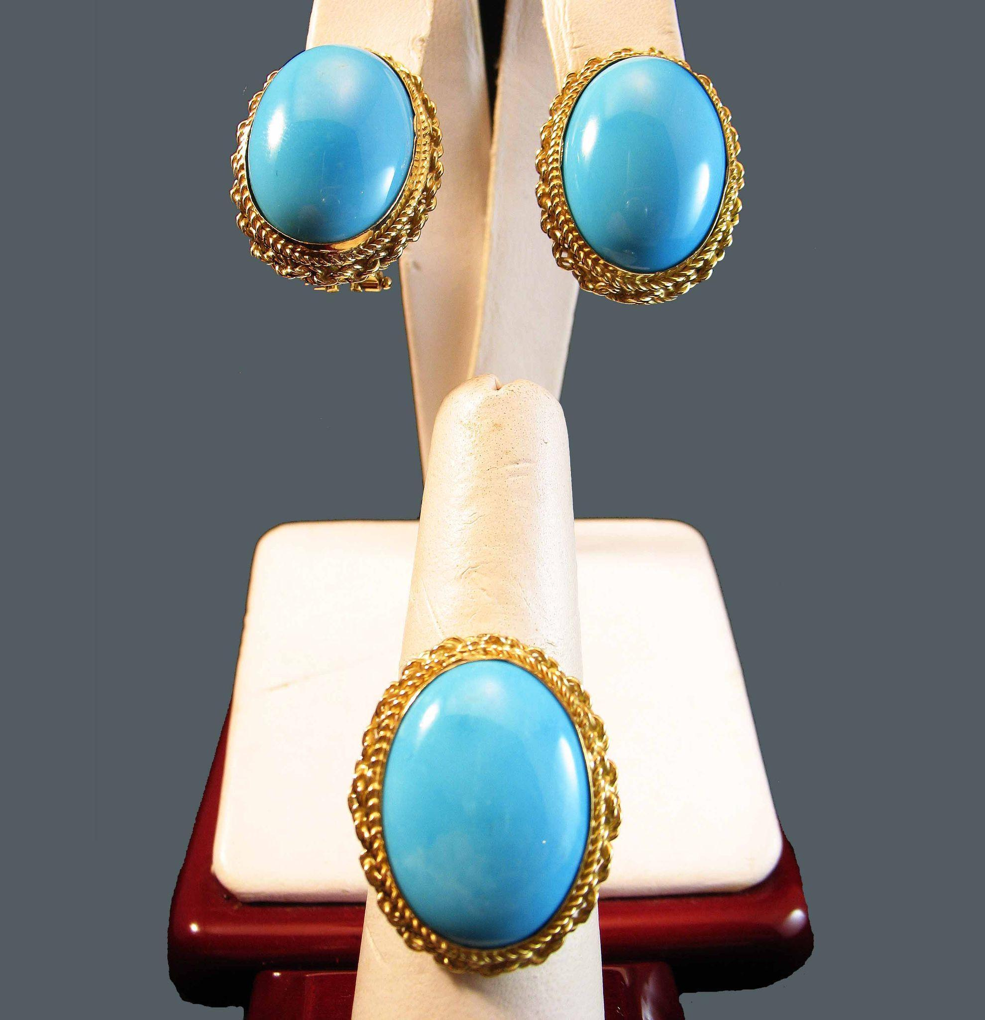 Oh So Elegant 18k Sleeping Beauty Turquoise Large Cabochon Ring & 18k  Earring Suite 252 Grams