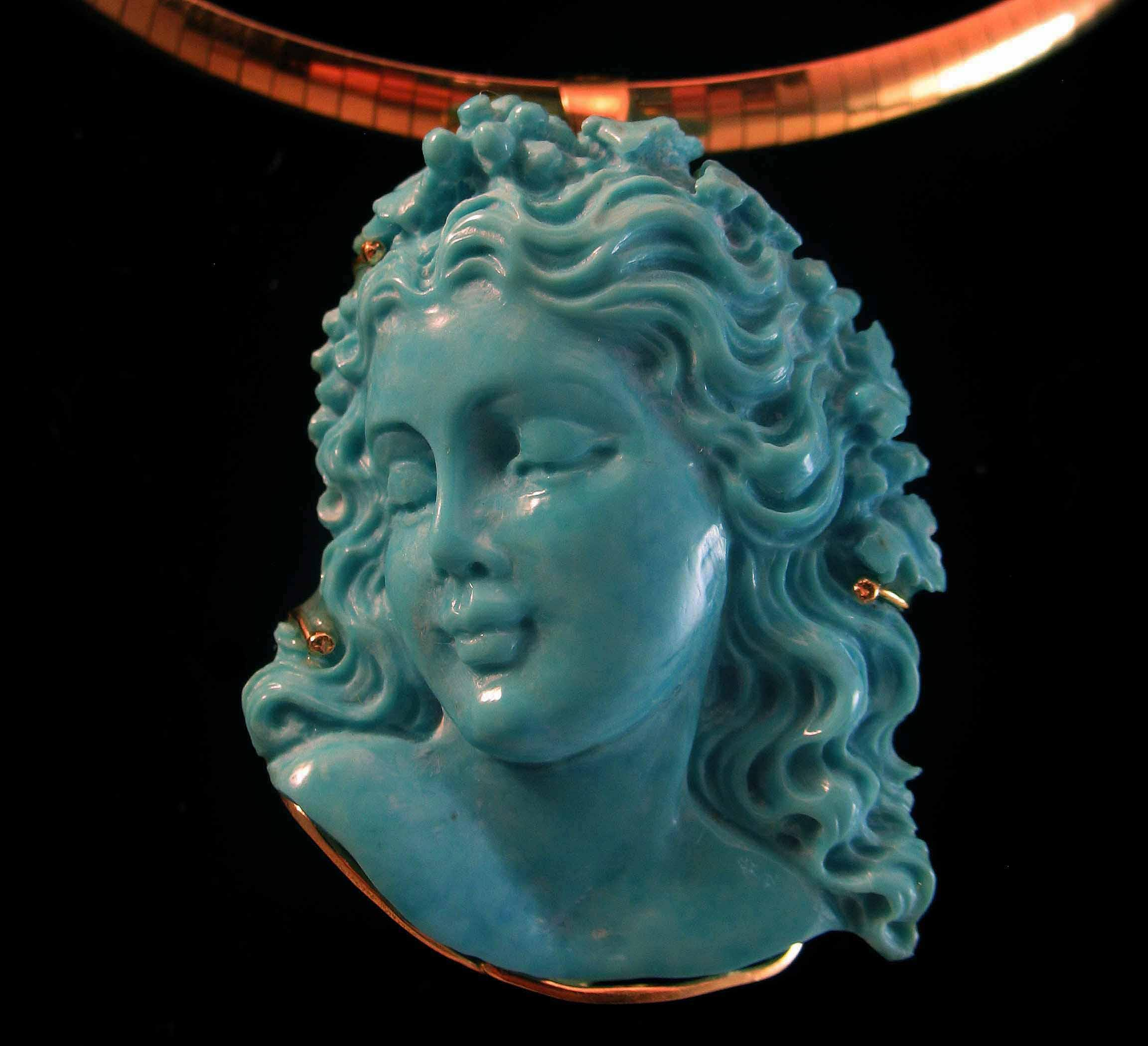Spectacular k natural sleeping beauty turquoise carved