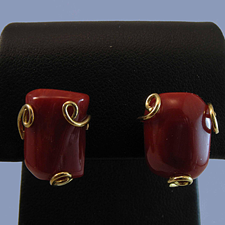NOS 18K YG Corsican Oxblood Red Coral Cabochon Earrings 4.5 grams