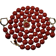 14K Sardinian Red Coral Bead Necklace & Earring Suite - 40.3 grams