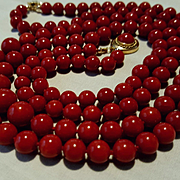 Divine 18K Double Strand Corsican Oxblood Red Coral Bead Necklace and Earring Suite 84.1 grams