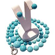 Spectacular Sleeping Beauty Turquoise Bead Necklace & Earrings