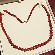 18K Dark Sardinian Red Coral 5-9.8mm Bead Necklace - 21""