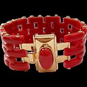 Fine Italian 18K Sardinian Red Coral Gate Link Bracelet