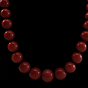 Elegant 18K Sardinian Red Coral 5-9.8mm Bead Necklace - 21""
