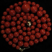 New Old Stock 18K Gold Red Coral Bead Necklace - 33.7 grams