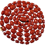 "30.5"" 18K Sardinian Red Faceted Coral Bead Necklace Cabochon Clasp - 43.5 grams"