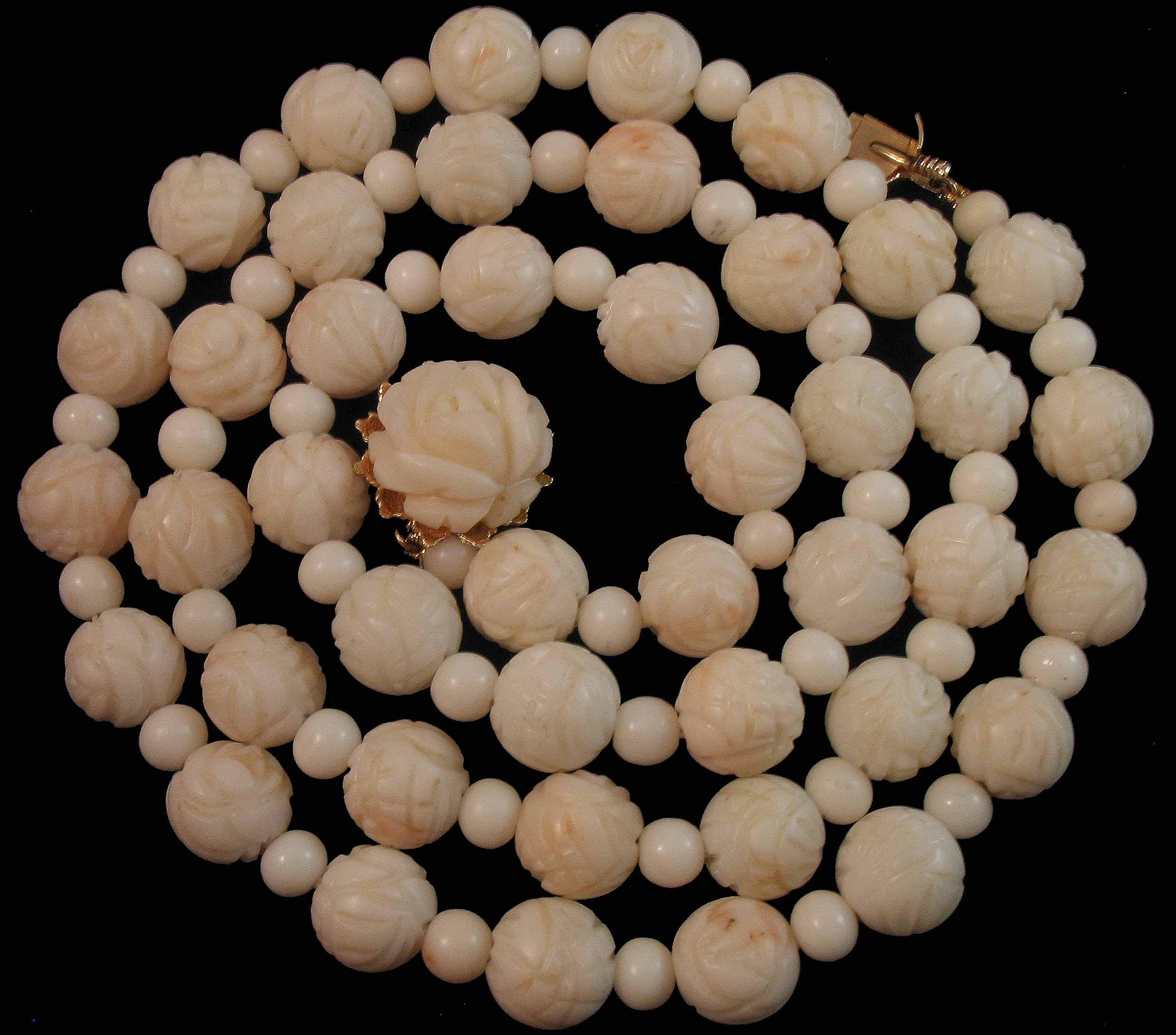 Vintage 14K Hand Carved Roses Angelskin Coral Bead Necklace 24.5""