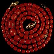 Magnificent 18K Oxblood Red Coral Faceted Bead Necklace & Bracelet Suite - 42.3 grams